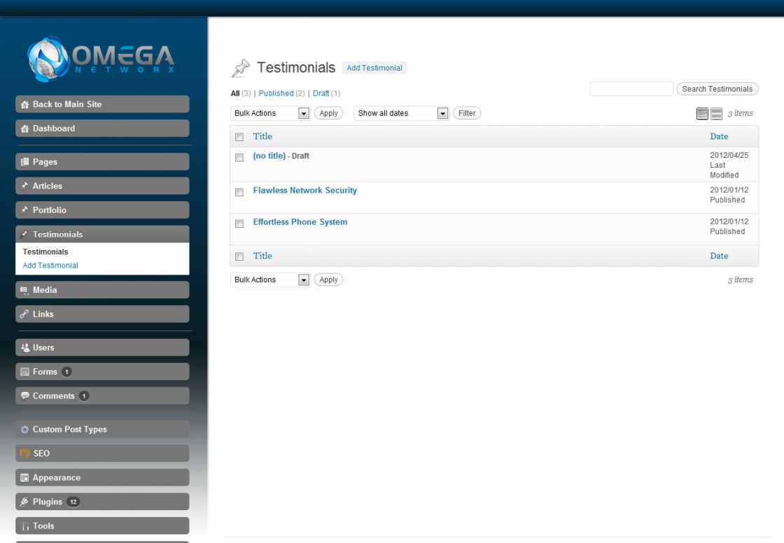 WordPress Admin Development Omega