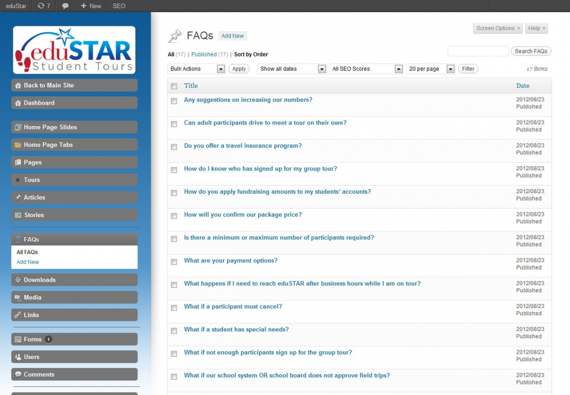 WordPress Admin Development eduSTAR