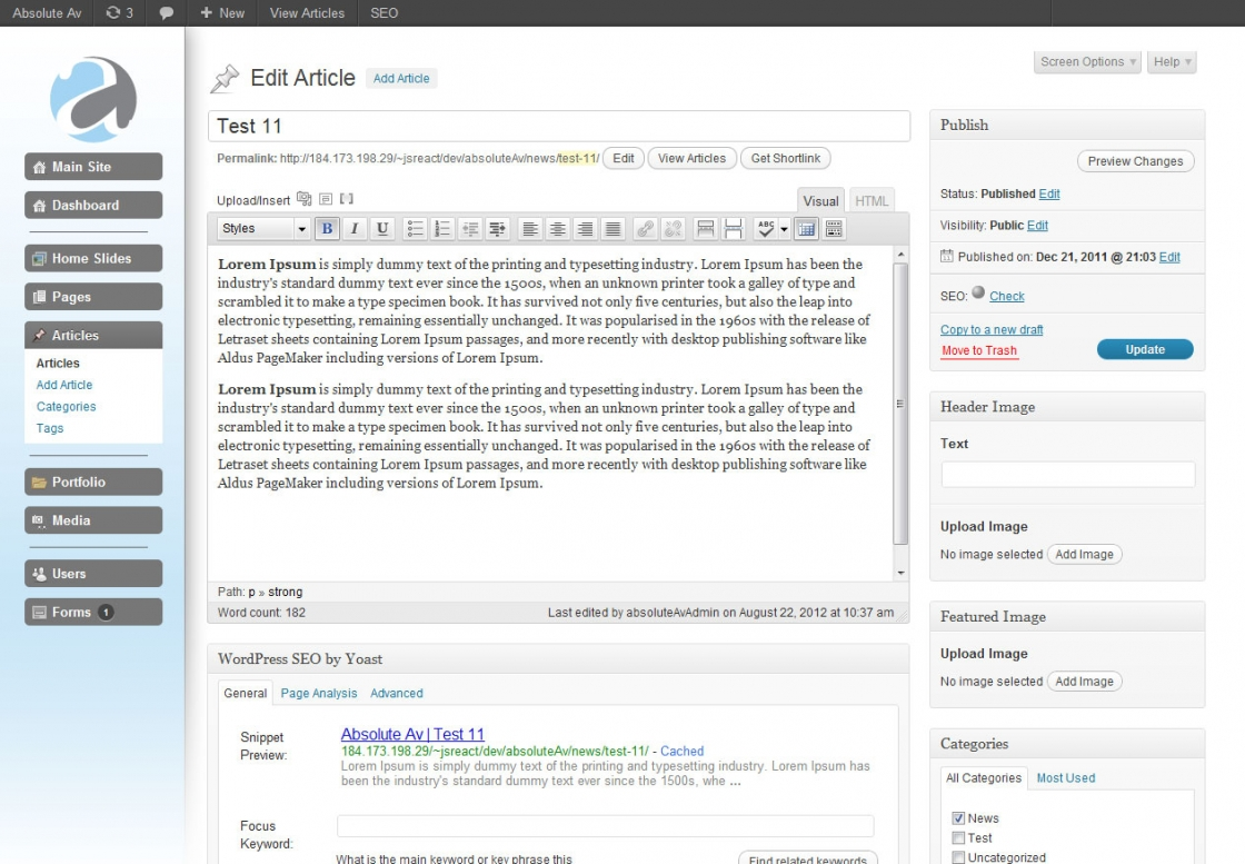 WordPress Admin Development Absolute AV