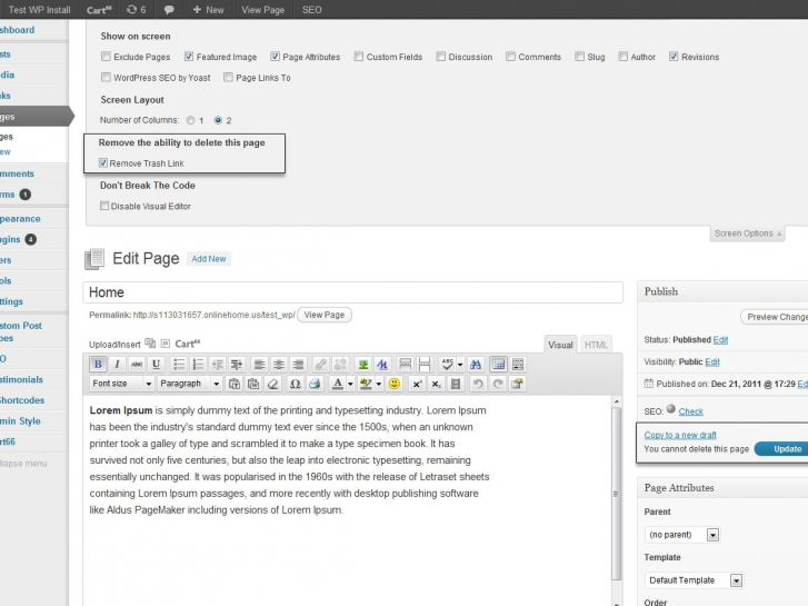 WordPress Plugin Development Disable Delete